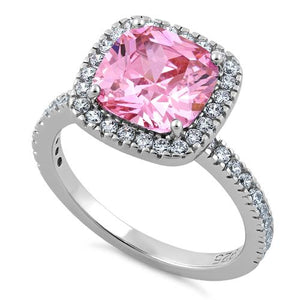 Sterling Silver Cushion Cut Pink CZ Ring