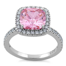 Load image into Gallery viewer, Sterling Silver Cushion Cut Pink CZ Ring
