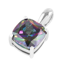 Load image into Gallery viewer, Sterling Silver Cushion Cut Rainbow Topaz CZ Pendant