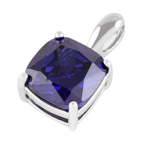 Sterling Silver Cushion Cut Tanzanite CZ Pendant