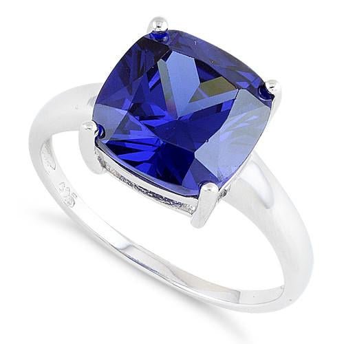 Sterling Silver Cushion Cut Tanzanite CZ Ring