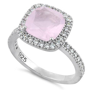 Sterling Silver Cushion Cut Vintage Pink & Clear CZ Ring