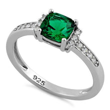 Load image into Gallery viewer, Sterling Silver Cushion Emerald CZ Ring