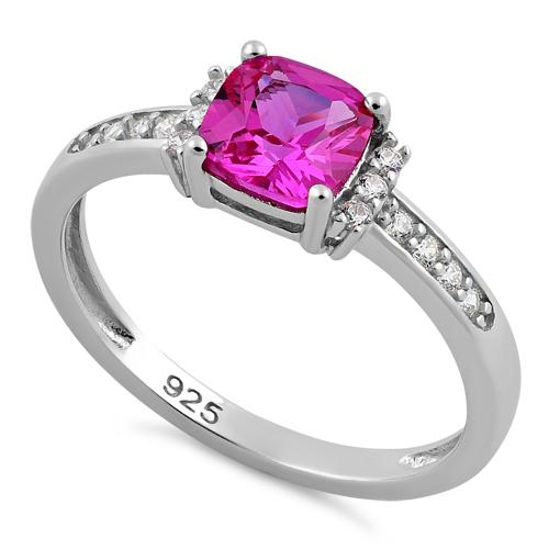 Sterling Silver Cushion Pink CZ Ring