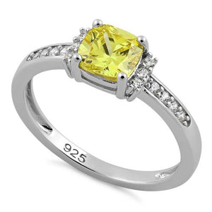 Sterling Silver Cushion Yellow CZ Ring
