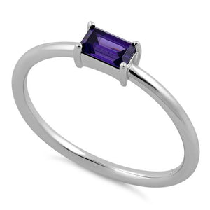 Sterling Silver Dainty Baguette Straight Amethyst CZ Ring