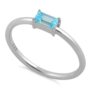 Sterling Silver Dainty Baguette Straight Aqua Blue CZ Ring