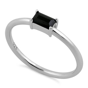 Sterling Silver Dainty Baguette Straight Black CZ Ring