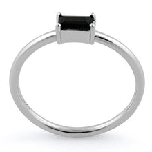 Load image into Gallery viewer, Sterling Silver Dainty Baguette Straight Black CZ Ring