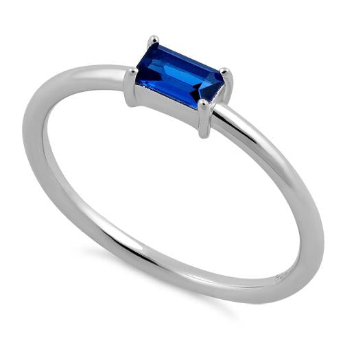 Sterling Silver Dainty Baguette Straight Blue Spinel CZ Ring