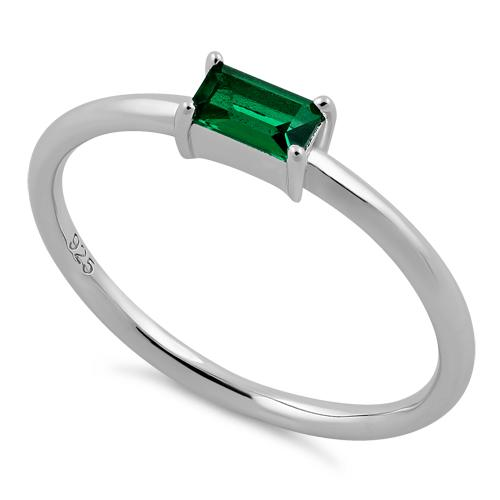 Sterling Silver Dainty Baguette Straight Emerald CZ Ring