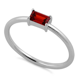 Sterling Silver Dainty Baguette Straight Garnet CZ Ring
