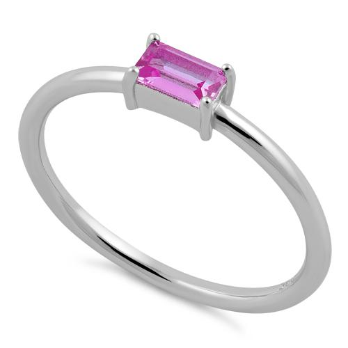 Sterling Silver Dainty Baguette Straight Pink CZ Ring
