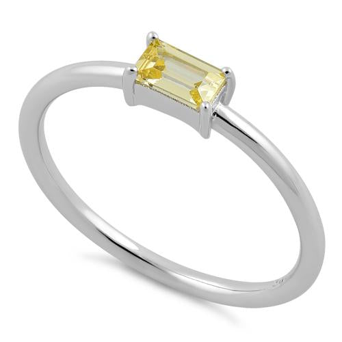 Sterling Silver Dainty Baguette Straight Yellow CZ Ring
