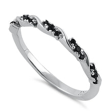 Load image into Gallery viewer, Sterling Silver Dainty Black CZ Ring