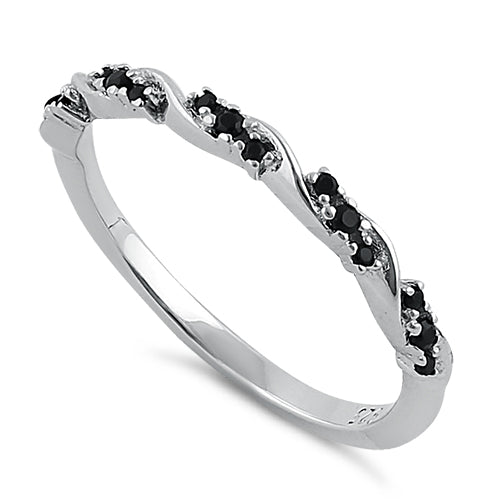 Sterling Silver Dainty Black CZ Ring