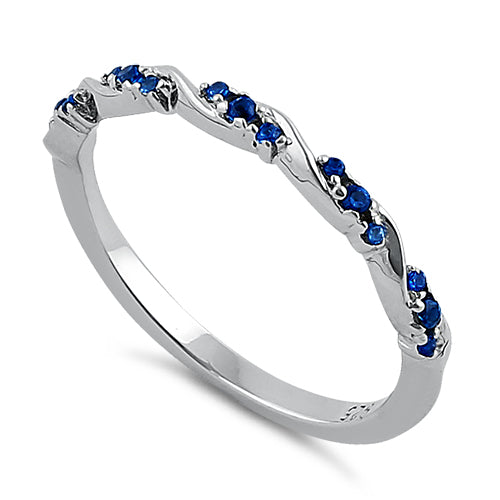 Sterling Silver Dainty Blue Spinel CZ Ring
