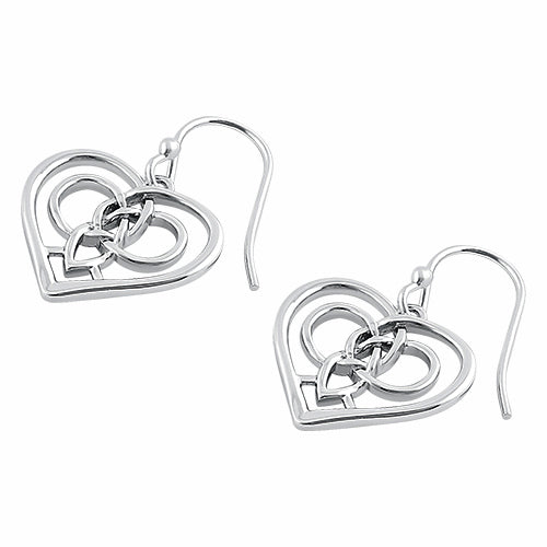 Sterling Silver Dangling Celtic Heart Earrings