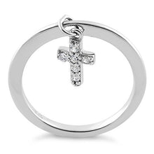 Load image into Gallery viewer, Sterling Silver Dangling Cross CZ Ring