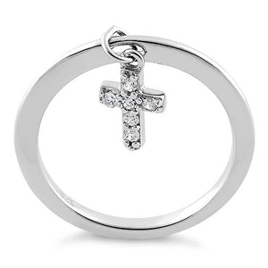 Sterling Silver Dangling Cross CZ Ring