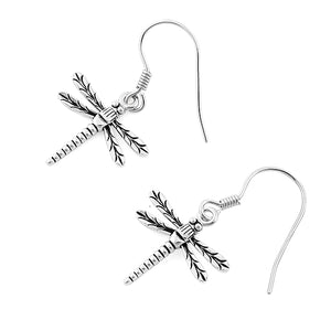 Sterling Silver Dangling Dragonfly Earrings