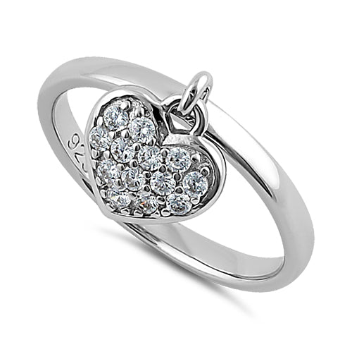 Sterling Silver Dangling Heart CZ Ring