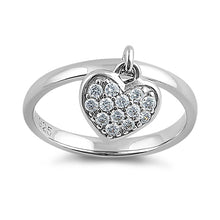 Load image into Gallery viewer, Sterling Silver Dangling Heart CZ Ring