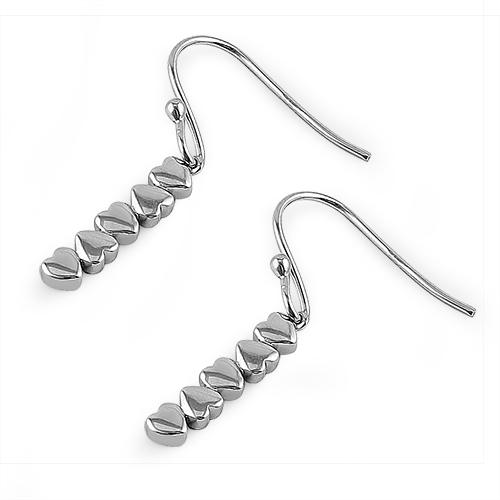 Sterling Silver Dangling Hearts Earrings