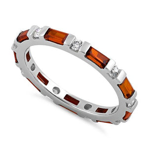 Sterling Silver Fire Orange and Clear CZ Eternity Ring