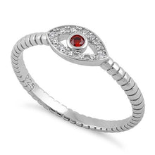 Load image into Gallery viewer, Sterling Silver Dark Garnet Stone Evil Eye CZ Ring