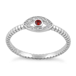 Sterling Silver Dark Garnet Stone Evil Eye CZ Ring