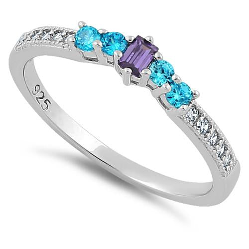 Sterling Silver Dark Violet & Aqua CZ Ring