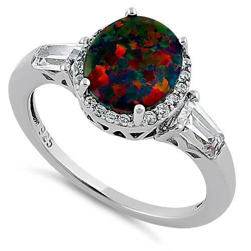 Sterling Silver Dazzling Oval Black Lab Opal CZ Ring