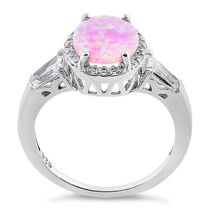 Sterling Silver Dazzling Oval Pink Lab Opal CZ Ring
