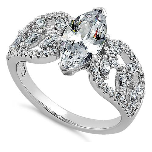 Sterling Silver Decorative Marquise Cut Clear CZ Engagement Ring