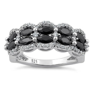 Sterling Silver Decorative Marquise & Round Cut Black CZ Ring