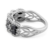 Load image into Gallery viewer, Sterling Silver Decorative Marquise & Round Cut Black CZ Ring
