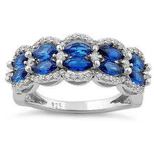 Load image into Gallery viewer, Sterling Silver Decorative Marquise & Round Cut Blue Spinel CZ Ring