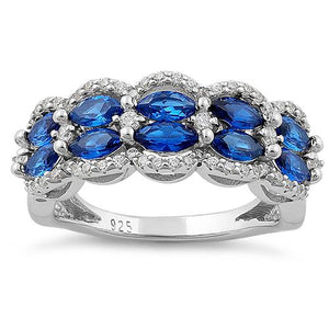 Sterling Silver Decorative Marquise & Round Cut Blue Spinel CZ Ring