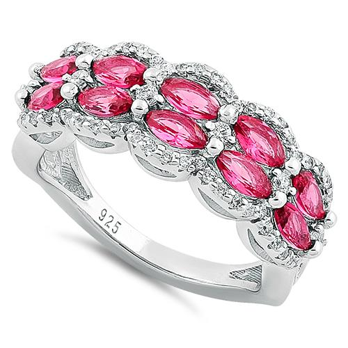 Sterling Silver Decorative Marquise & Round Cut Ruby CZ Ring
