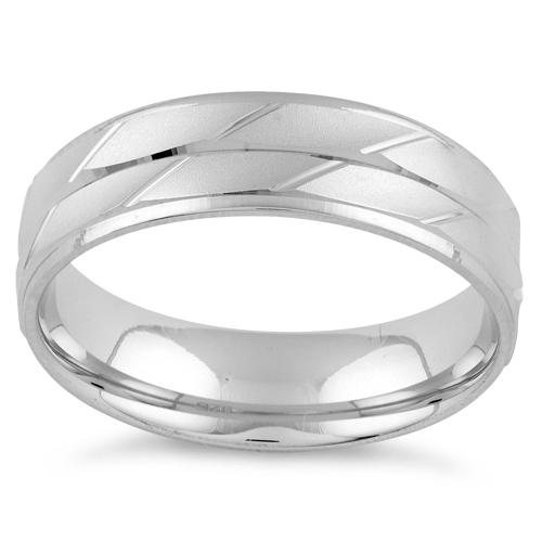 Sterling Silver Diamond Cut 2 Layer Lines Wedding Band Ring