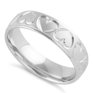 Sterling Silver Diamond Cut Heart Wedding Band Ring