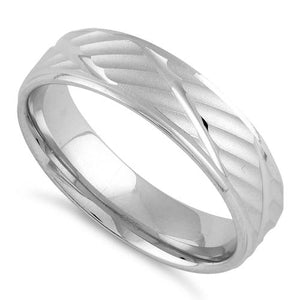 Sterling Silver Diamond Cut Lines Wedding Band Ring