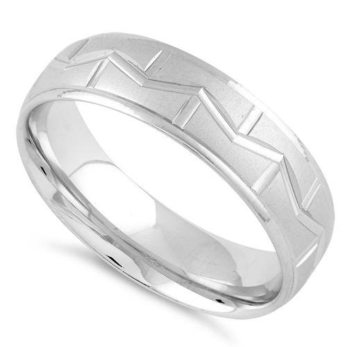 Sterling Silver Diamond Cut M Shaped Wedding Band Ring