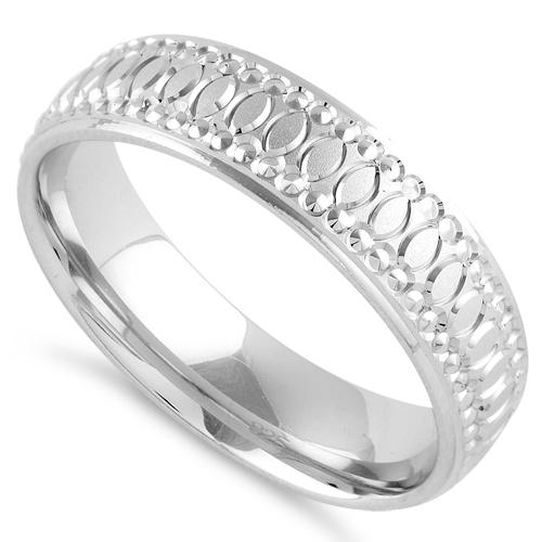 Sterling Silver Diamond Cut Oval Wedding Band Ring