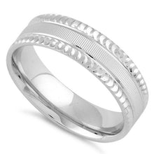 Load image into Gallery viewer, Sterling Silver Diamond Cut Pattern Wedding Band Ring