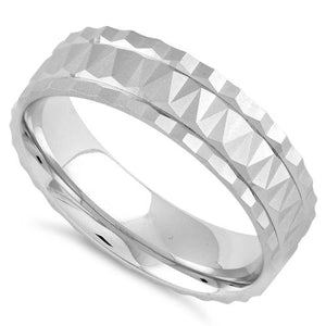 Sterling Silver Diamond Cut Pattern Wedding Band Ring