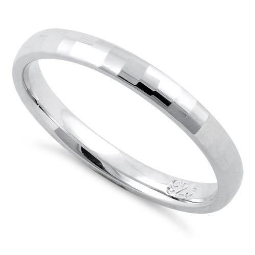 Sterling Silver Diamond Faceted Pattern Wedding Band Ring 2.5mm