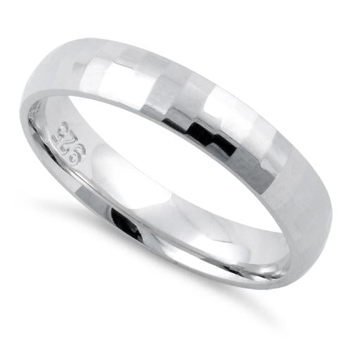 Sterling Silver Diamond Cut Pattern Wedding Band Ring 4mm