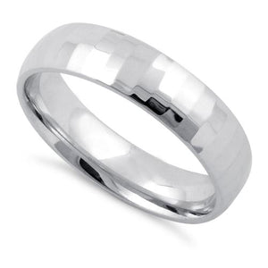 Sterling Silver Diamond Cut Pattern Wedding  Band Ring 5mm